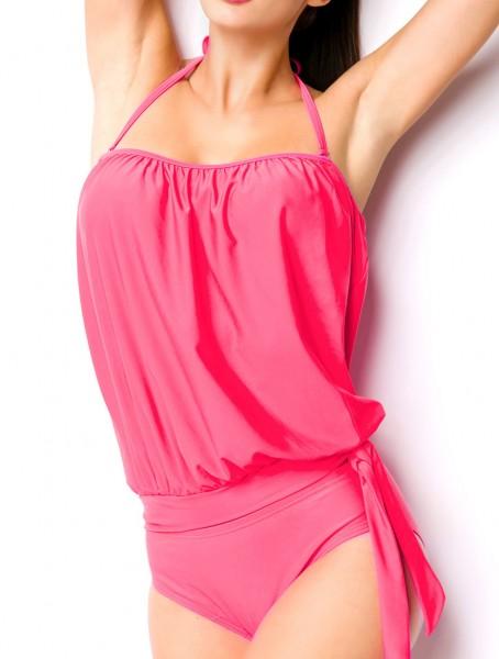 Elastischer Damen Tankini Neckholder Swimsuit mit Top und Panty abnehmbare Träger zum binden