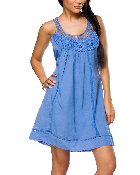 Blaues Strandkleid zum binden mit Bindeband am Rücken und Häkeleinsatz gekräuselt