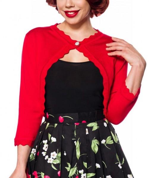 Beige kurze Damen Strick-Jacke mit langen Ärmeln und Rundhalsausschnitt Bolero Retro mit Knopf in de