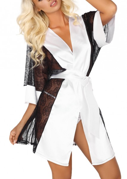 Damen Dessous Morgenmantel Gown mit String in weiß zum binden aus Satin und Spitze Kimono