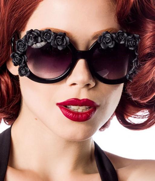 Große schwarze Damen retro Sonnenbrille mit aufgesetzten Blumen und getönten Gläsern Vintage Sonnenb