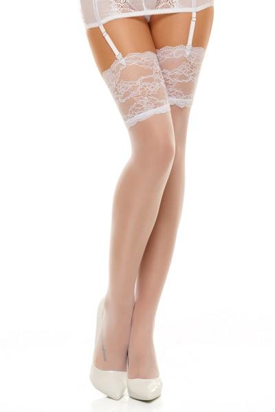 Weiße transparente Strümpfe Stockings aus Blumen Muster mit breiten Rand Blumenmuster Spitzen-Strümp