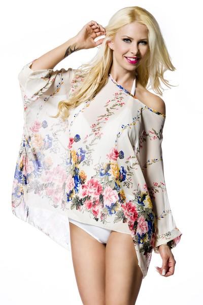 Luftige Sommer Tunika Strandtuch mit Blumenmuster in weiß Größe S-L