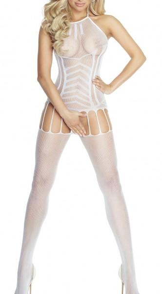 Weißes offenes Damen Dessous Netz-Catsuit ouvert Bodystocking transparent dehnbar mit Bänder OneSize