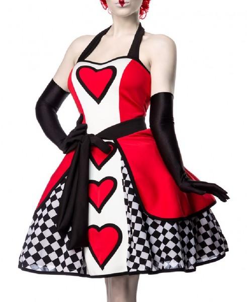 Damen Red Queen Kleid Kostüm Verkleidung mit Kleid, Überrock, Handschuhe aus Satin mit Herz Muster