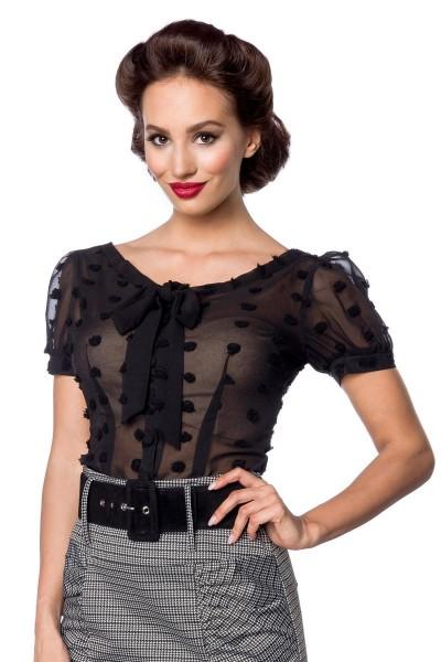 Schwarze kurze Schluppen-Bluse mit kurzen Puffärmeln und Schleife transparenter Netzstoff Knopfleist