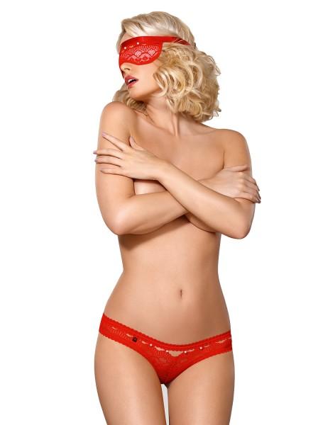 Damen Dessous Reizwäsche Panty rot Schleife rot aus Spitze transparent mit Maske