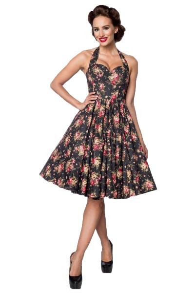 Schwarzes pinkes knielanges Swing Kleid im High Waist Schnitt mit Formstäbchen und Neckholder und He