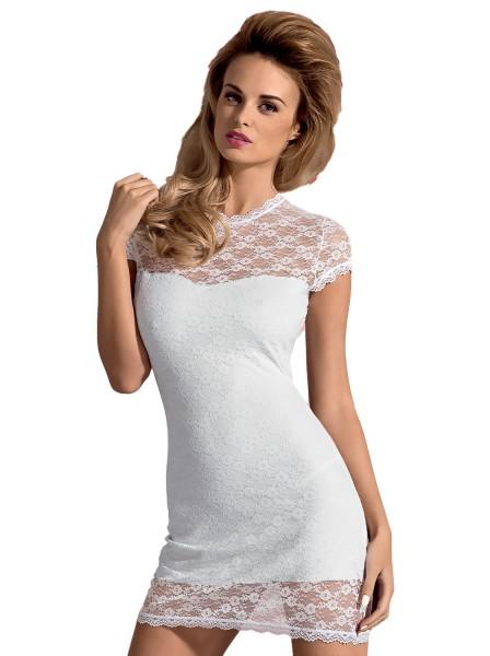 Erotisches Dessous Minikleid in weiß aus Spitze elastisch inkl String Damen Spitzenkleid Abendkleid