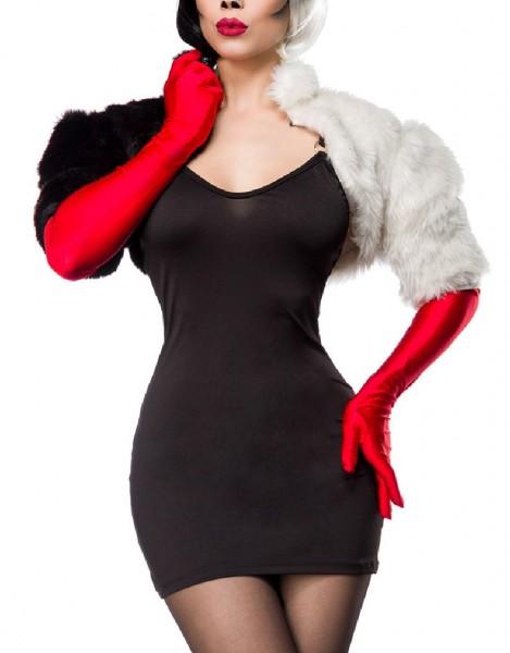Damen Cruel Lady Kleid Kostüm Verkleidung mit Kleid, Cape, Handschuhe und Plüsch zweifarbig in schwa