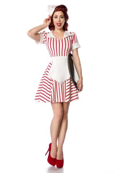 Damen Dienstmädchen Outfit Kostüm Verkleidung mit Kleid, Schürze, Mütze und Wimpelkragen in weiß/rot