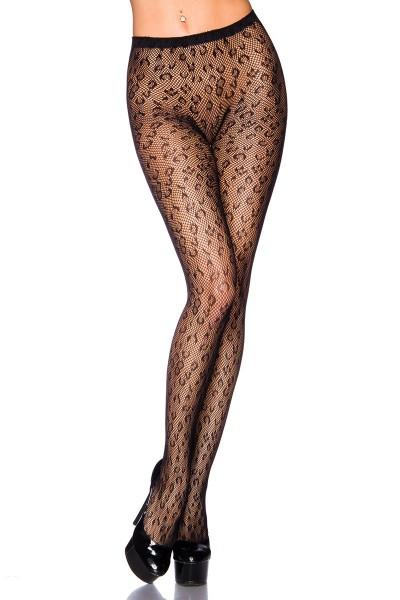 Transparente schwarze Damen Netz Strumpfhose mit Leopard Muster und elastischem Bund