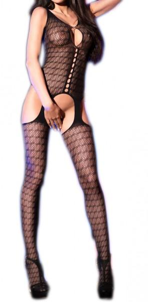 Damen Dessous Bodystocking in schwarz transparent aus Mesh Material erotischer Bodystocking OneSize