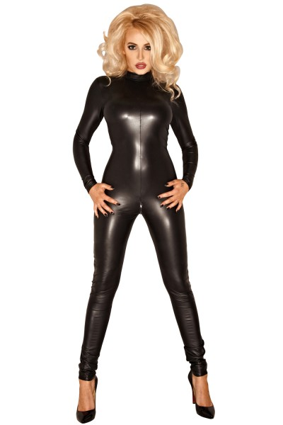 Schwarzes Damen Dessous Wetlook Catsuit Overall eng mit Reißverschluß