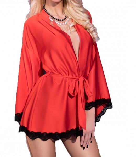 Elegante Damen Dessous Robe Morgenmantel und String in rot schwarz aus Satin und Spitze langarm