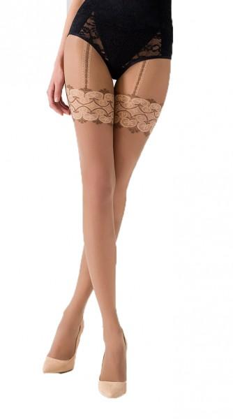 Damen Strumpfhose mit Straps-Muster beige natur transparent 20 DEN