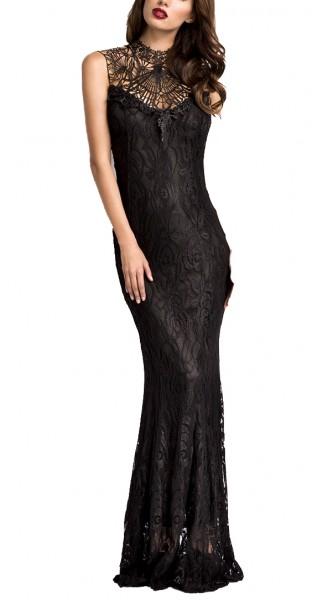Langes schwarzes Abendkleid mit Spitze hochgeschlossen und tiefem Rückenausschnitt zum binden im Nac