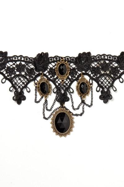 Damen Collier mit Broschen und Spitze in schwarz aus Häkelspitze mit Anhängern Halsband Gothic