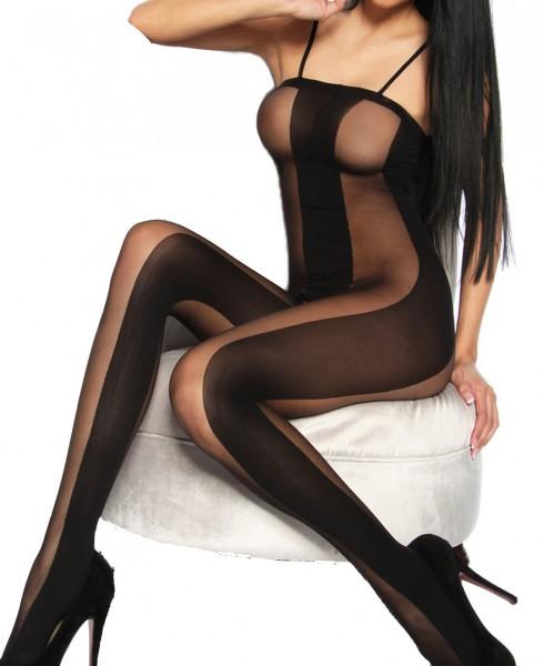 Schwarzer offener Bodystocking aus Netz elastisch mit Ausschnitten Onesize Dessous