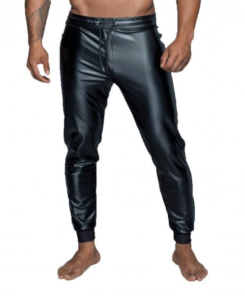 Herren Pants in schwarz Treggings Hose aus Powerwetlook Material mit elastischem Bund zum schüren