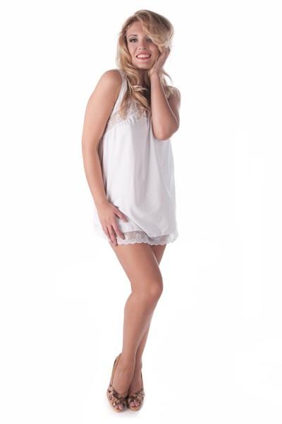 Weißes Damen Dessous Chemise mit Spitze weich und elastisch Damen Nachtkleid Hemdchen Negligee