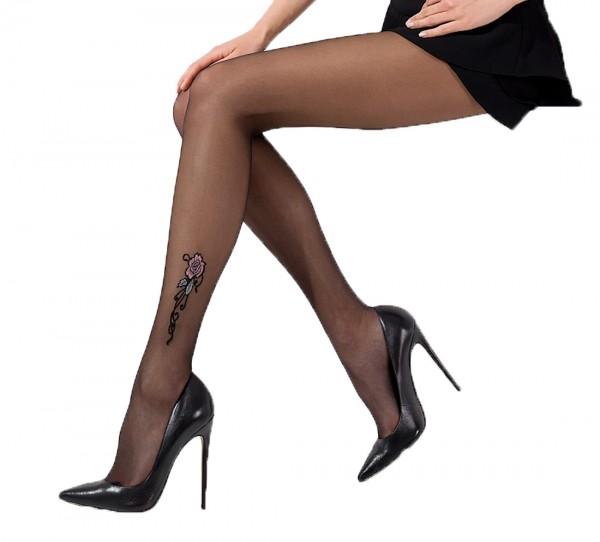 Damen Strumpfhose schwarz mit Rosen Muster transparent 20DEN