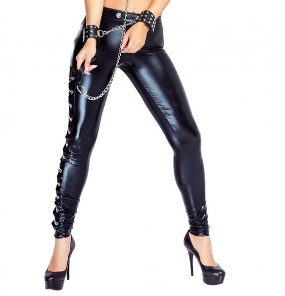 Damen wetlook Hosen Pants dehnbar mit Nieten Dessous Hose frauen in schwarz