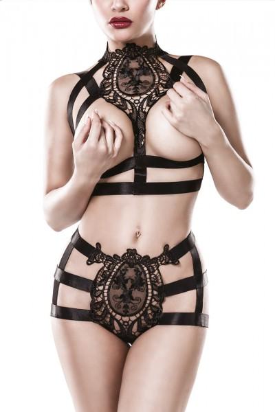 Schwarzes Damen Ketten Bänderset mit tiefem Ausschnitt BH Oberteil und Panty gekreuzte Bänder mit Bä