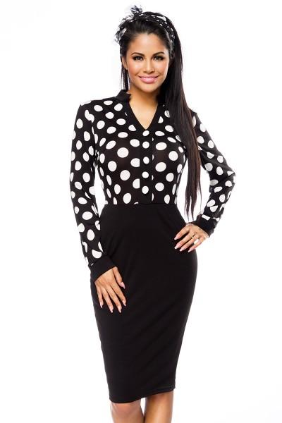 Elegantes Abendkleid Bleistiftkleid in schwarz mit weißen Punkten und Kragen Damen Kleid knielang