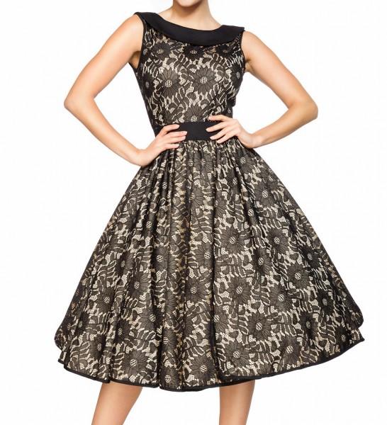 Rotes Knielanges Swing Kleid im High Waist Schnitt mit Spitze und Tellerrock beige Blumenmuster und