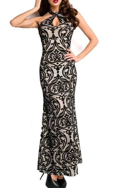 Schwarzes langes Abendkleid mit Paisleymuster aufgeflockt Reißverschluss hinten Meerjungfrau Schnitt