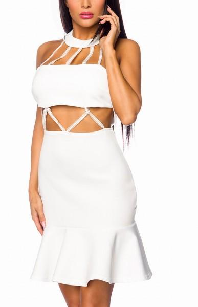 Weißes Schulterfreies Cocktailkleid mit Neckholder Kragen und Perlen verziehrt volantierter Saumabsc