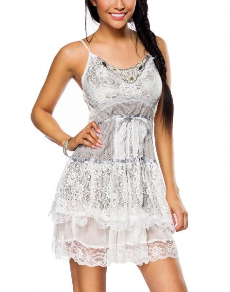Graues Kleid aus Spitze mit Perlen und Schnürung vorn gesmoktes Rückteil