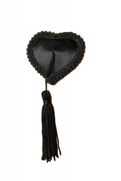 Schwarze Damen Nippel Patch glänzend selbsthaftend Herzform mit Quaste 2x