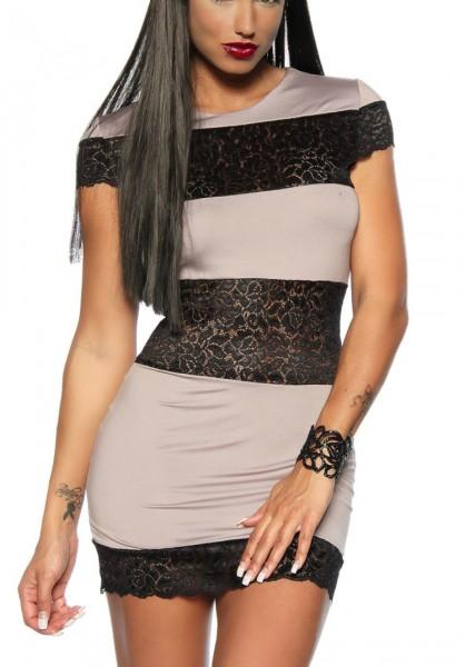 Beige schwarzes Cocktail-Kleid mit Spitze teiltransparent kurz geschnitten