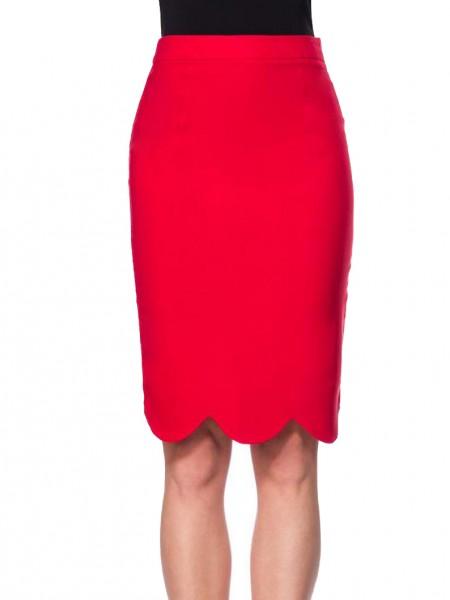 Roter schmaler wellenförmiger Saumabschluss Bleistiftrock mit hohem Bund und Schlitz Reißverschluss