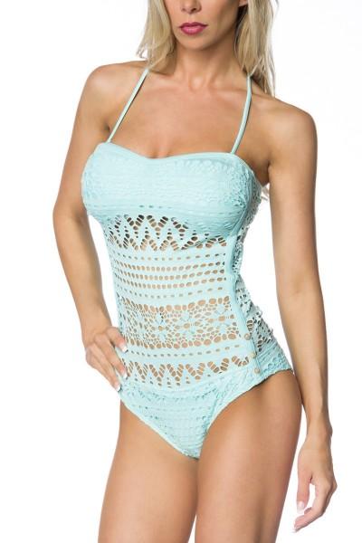 Elastischer Damen Badeanzug Neckholder Swimsuit mit Verzierung und Spitze