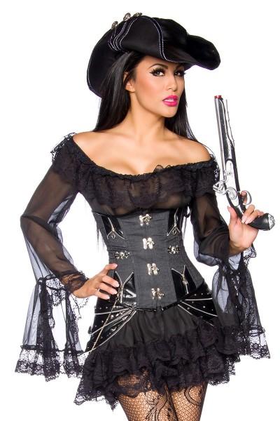 Schwarze Lang Bluse aus Spitze mit eingenähtem Volantrock und Carmenausschnitt inklusive String Pira