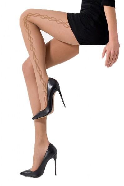 Damen Strumpfhose mit Muster beige natur transparent 20 DEN