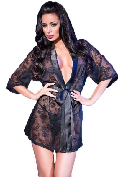 Damen Dessous Morgen Mantel aus Spitze transparent mit Satin Band und String schwarz