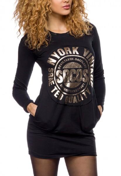 Schwarzes langes Damen Sweatshirt mit goldfarbenen Metallic Print und eingelassenen Eingriffstaschen