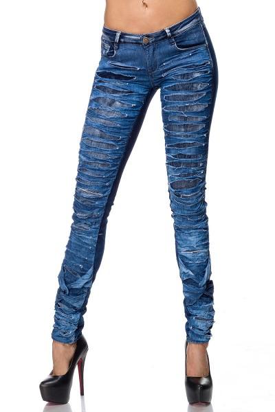 Blaue Damen Jeans mit zweilagiger Vorderseite und Rissen Five-Pocket-Style schmaler Schnitt