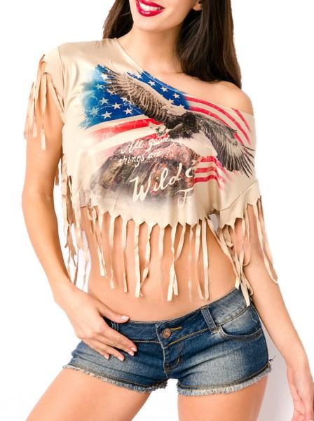 Kurzes lässiges schwarzes Damen Top mit USA Flagge und Fransen sowie angeschnittenen Ärmeln