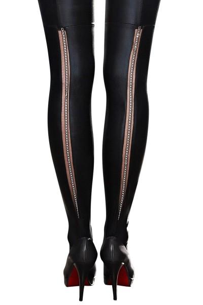 Schwarze Wetlook Straps-Strümpfe mit Tüll und Metallkette auf der Rückseite Damen Stockings