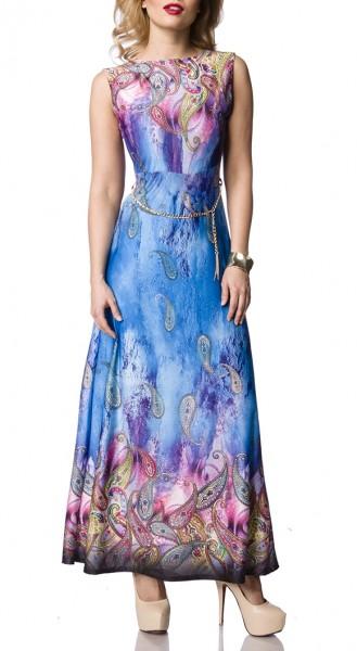 Langes Sommerkleid mit Gürtelkette und Paisley Muster hoch geschlossen