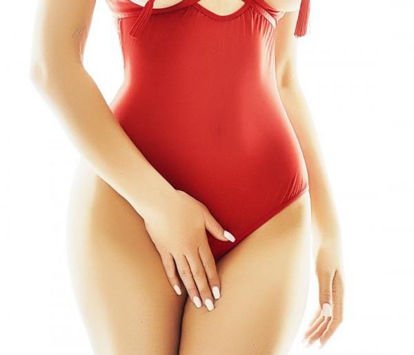 Roter Frauen ouvert Body mit Bügel Cups brustfrei aus Netz Material und Gummi Bänder