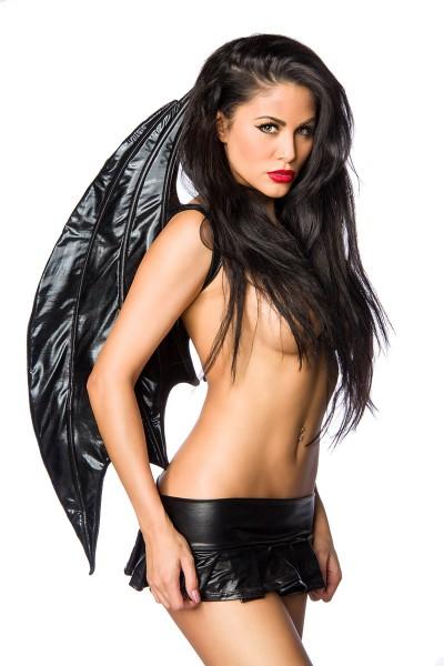 Schwarze Damen Engels Flügel Wetlook Flüge Dark Angel Verkleidung Fasching