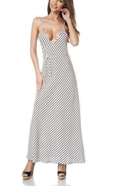 Schwarz weißes Träger-Kleid mit Streifen Muster leicht ausgestellt mit weit ausgeschnittener Rückenp