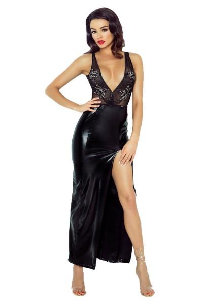 Langes Damen Desssou Maxi-Kleid aus wetlook Material dehnbar fetisch Kleid mit Spitze und Tüll