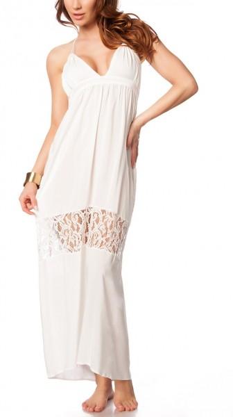 Weißes transparentes Hippie-Kleid mit transparenten Spitzeneinsätzen und Neckholder-Bindung luftiges